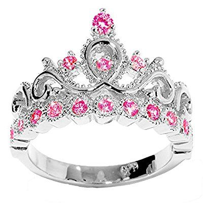 14K Gold Princess Crown with Ruby Birthstone Ring (July Birthstone)