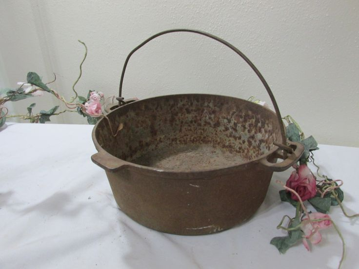 Cast Iron Pot Rustic Kettle with Handle Primitive Cauldron by LuRuUniques on Etsy