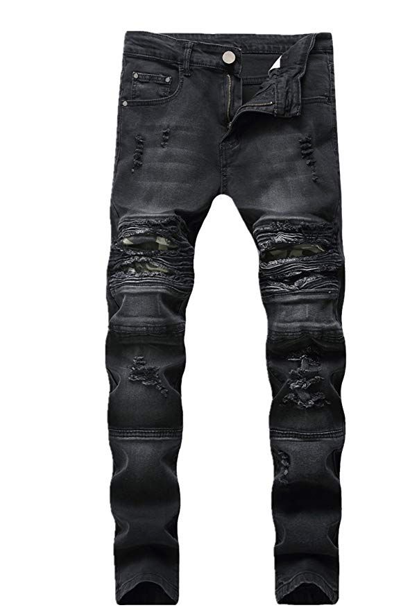 GUNLIRE Mens Biker Moto Ripped Distressed Destroyed Skinny Fit Denim Jeans