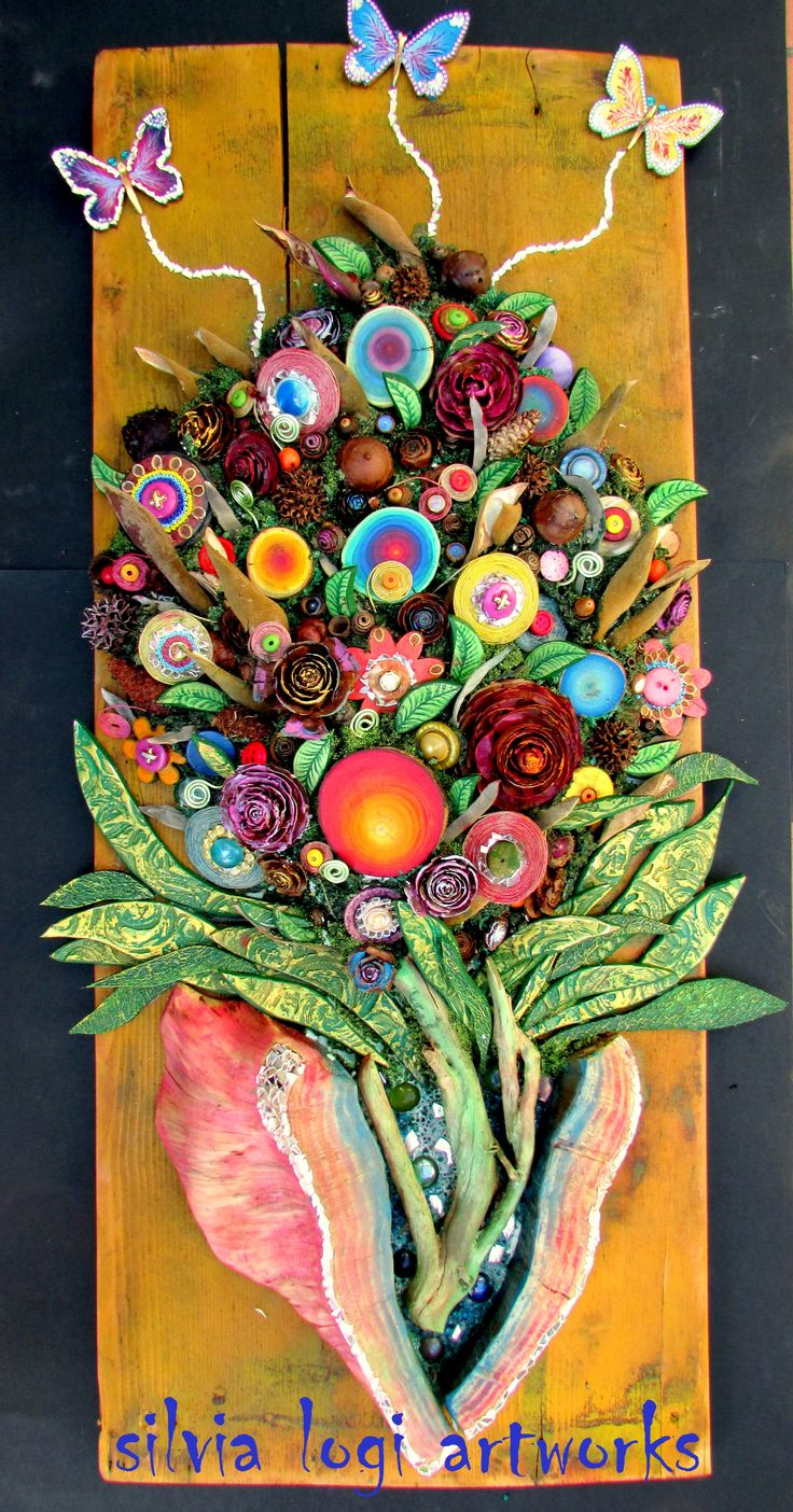 #flowers #bouquet #butterflies #wood #mixedmedia #mosaic see more on my fb page https://www.facebook.com/pages/Silvia-Logi-Artworks/121475337893535