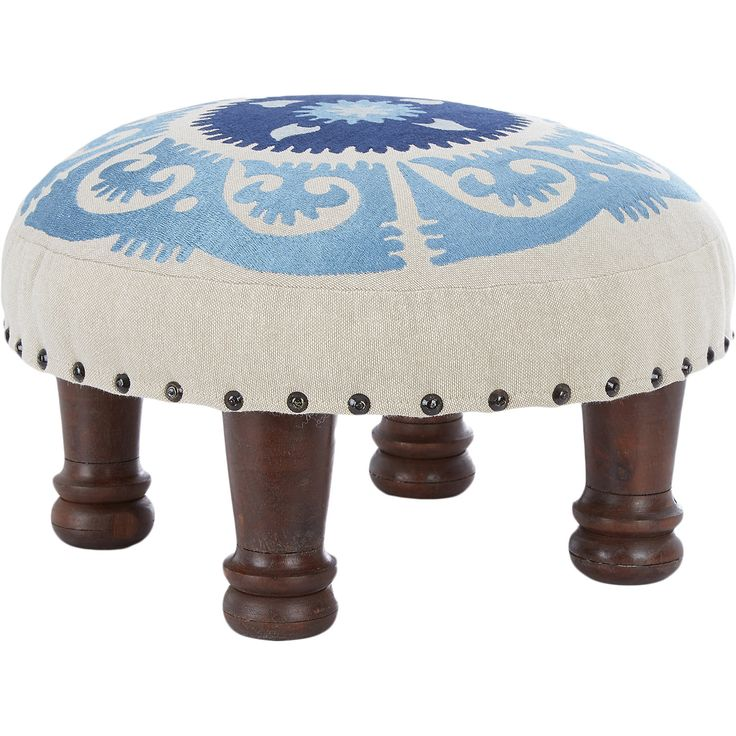 Beige Embroidered Foot Stool - TK Maxx