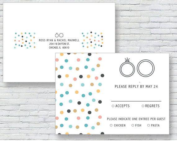 Stylish and Modern Polka Dot Reply Card  by LetterLoftPrints
