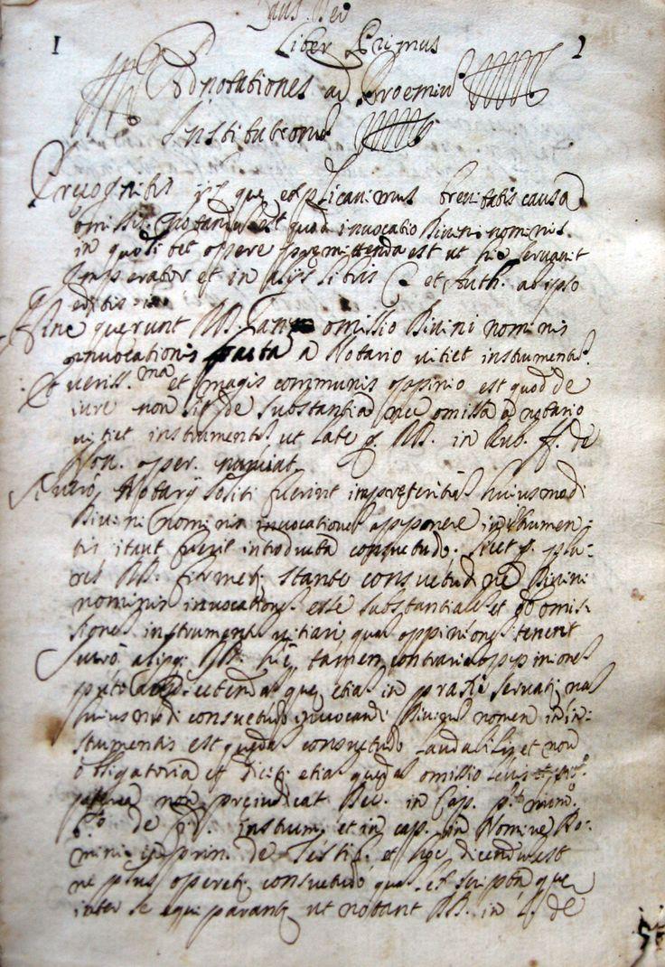 """UMBRIA NOTARIATO MANOSCRITTO  - Institutiones """"ad usum D.ni Gregorij de Parisis"""".  2a metà 600 ca. MANOSCRITTO in 4°, perg., pp.364. L'A. dichiara, all'ultima carta bianca, di essere nato a Foligno, di aver conseguito la Laurea a Perugia nel 1656 e di essere andato a Roma nel 1666. Con glosse e aggiunte maginali. Alc. fior. ma ottimo es. Di argomento interessante e raro."""