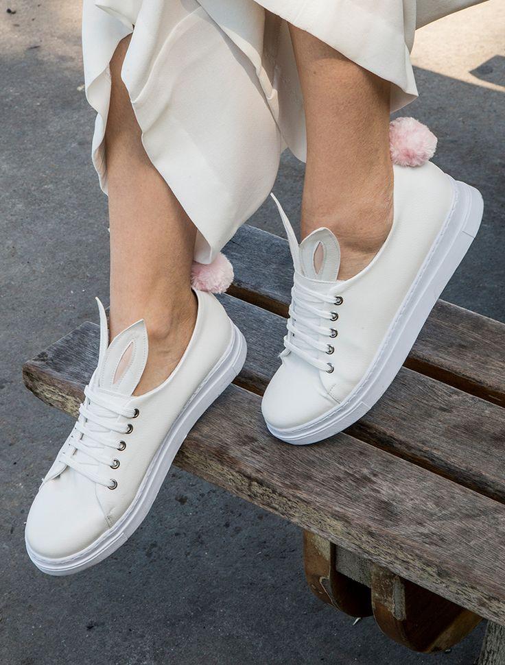 SPOR AYAKKABI Bunny Beyaz Ponponlu Spor Ayakkabı