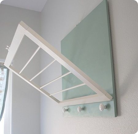 DIY clothes drying rack - conserves space and is cute enough...
