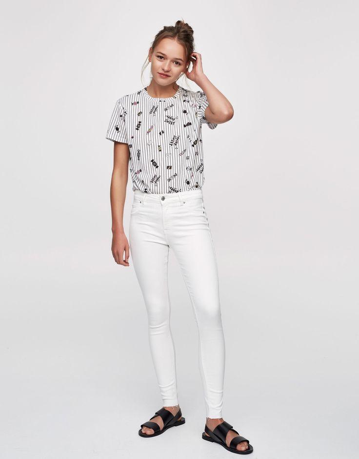 Kolorowe jeansy body curve - Dżinsy - Denim - HIDDEN - PULL&BEAR Polska