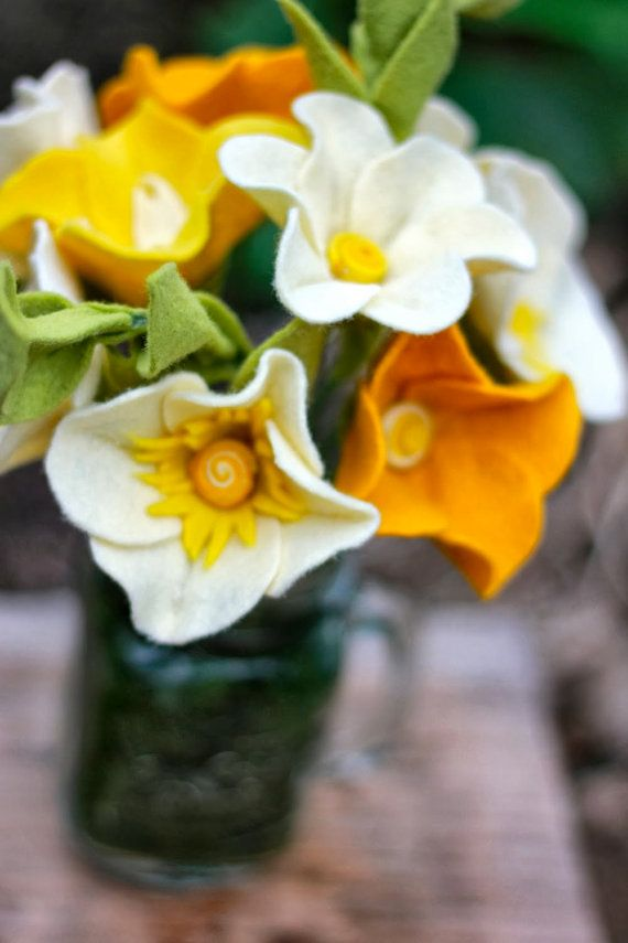 Mustard Yellow Pansy Felt Flower Bouquet by TheFeltFlorist on Etsy, $39.99