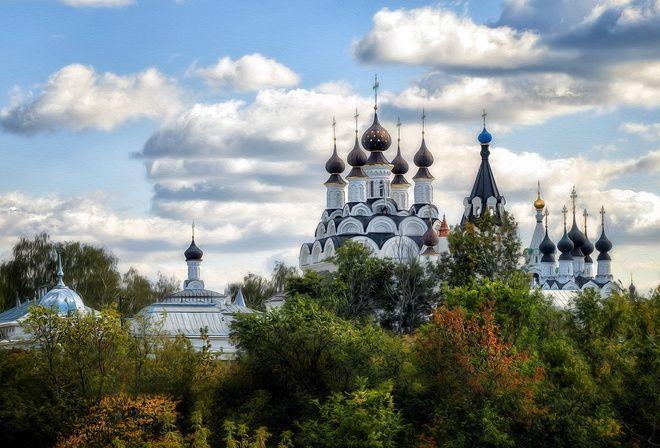 Благовещенский монастырь и Троицкий, имитация масло, стиль