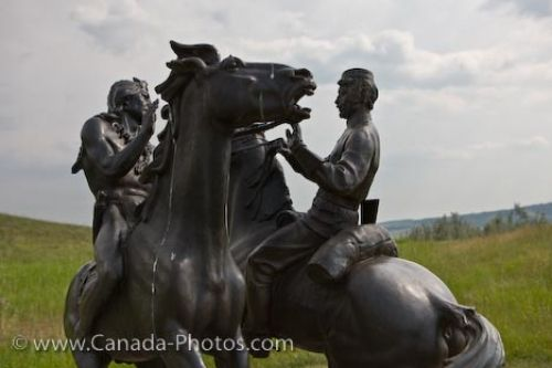 Statue of a Northwest Mounted Police Officer and an Indian greeting each other, Fort Walsh, Saskatchewan.