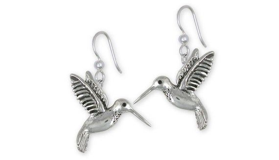bird jewellery Hummingbird earrings nature 925 Silver ear wires gift