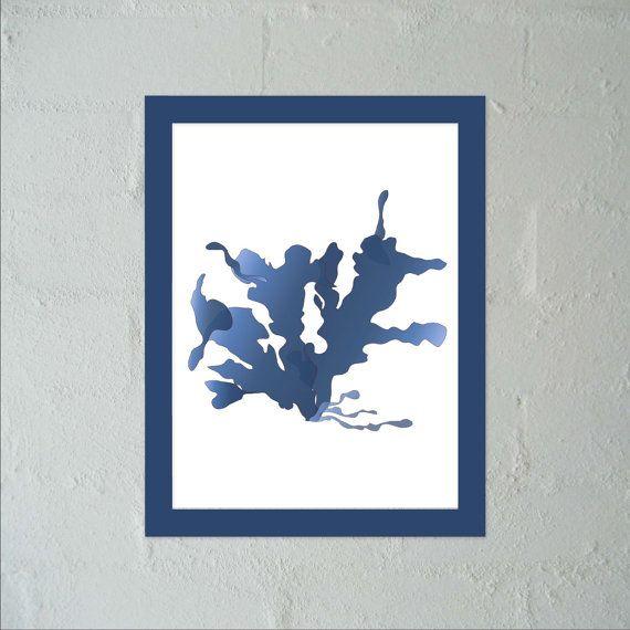 Seaweed 2 in Indigo  Wall Art Poster PDFJPG Jpeg by paper4download