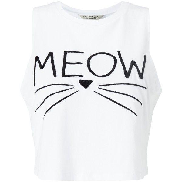 Miss Selfridge Petite Meow Slogan Vest, White (25 AUD) ❤ liked on Polyvore featuring outerwear, vests, tops, petite, sleeveless vest, sleeveless waistcoat, cotton vest, miss selfridge and white vest