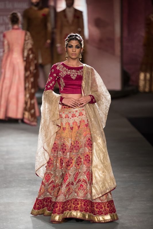 Anju Modi at India Couture Week 2014 - burgundy and gold lehenga