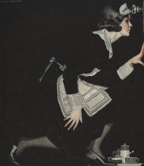 loumargi:  Illustration of Maid Peeking in Keyhole by Coles Phillips