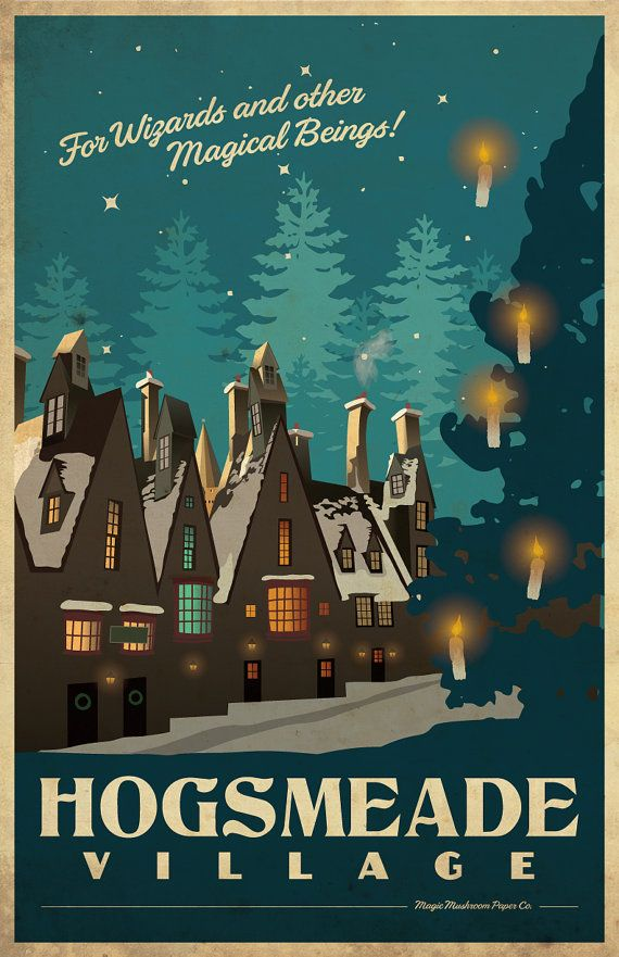 POUDLARD Harry Potter Travel Poster Vintage imprimer par MMPaperCo                                                                                                                                                                                 Plus