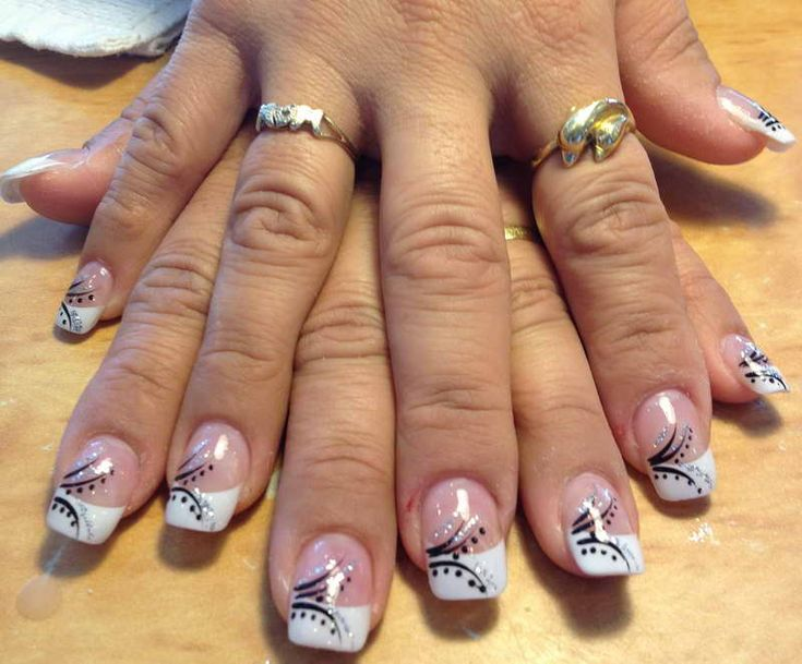 White French Tip Acrylic Nails With Design | www.imgkid ...