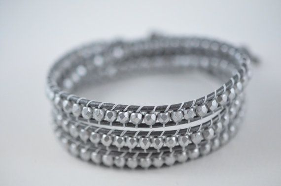 Triple Wrap Bracelet  Grey and Silver by Danerz on Etsy