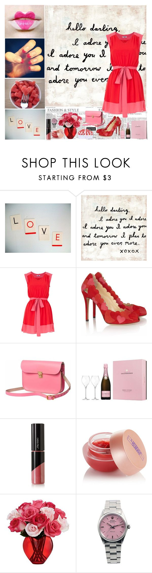 """LOVE is in te air... Feb 14th."" by sweetlittledoll ❤ liked on Polyvore featuring Sugarboo Designs, Suncoo, Charlotte Olympia, N'Damus, Shiseido, Lipstick Queen and Rolex"