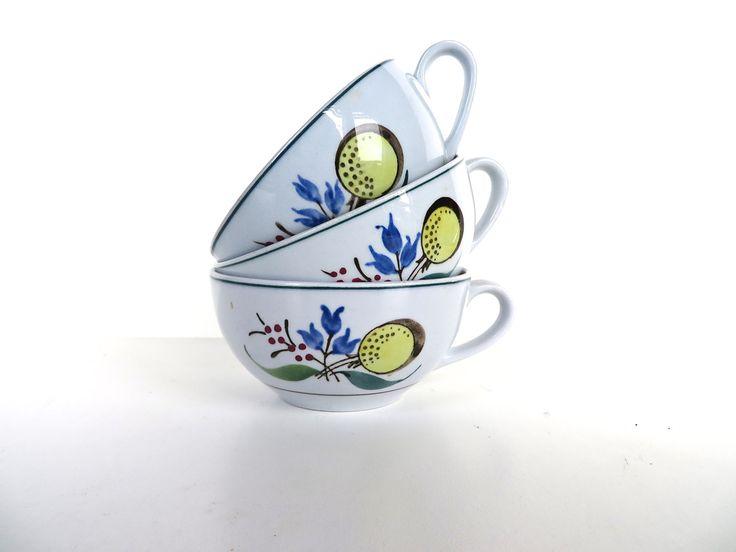 Set Of 3 Vintage Arabia of Finland Windflower Tea Cups, Vintage Floral Scandinavian Coffee Tea Cups by HerVintageCrush on Etsy