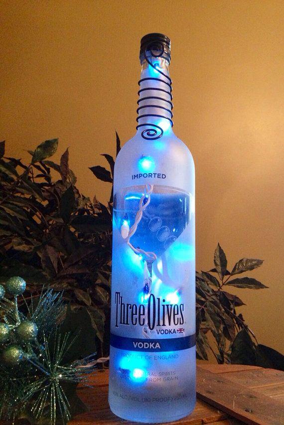 Three Olives Vodka Bottle Light Lamp  martini holiday gift blue light  bar themed decor man cave  on Etsy, $30.00