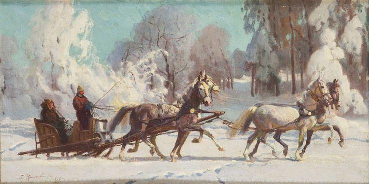 Zygmunt Rozwadowski - Pejzaż zimowy - kulig, 1924 r.
