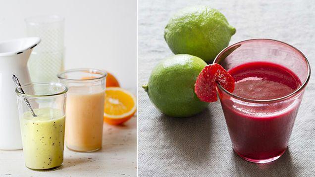 Mal sojabönor och mynta i mixern, häll också i hallon och citronjuice. Blanda.Späd med vatten.