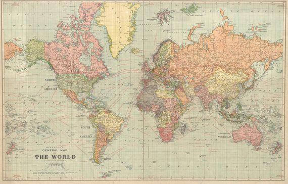 World map printable digital download. 1922 Vintage World Map.