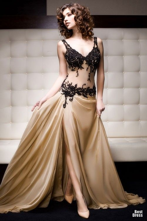 Skin color with black evening gown - Reminds me of traditional belly dancing garb turned into an evening dress