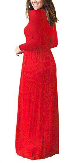 e54c788e2b47 ESONLAR Women Long Sleeve Round Neck Casual Loose Long Maxi Dress with  Pocket at Amazon Women's Clothing store: