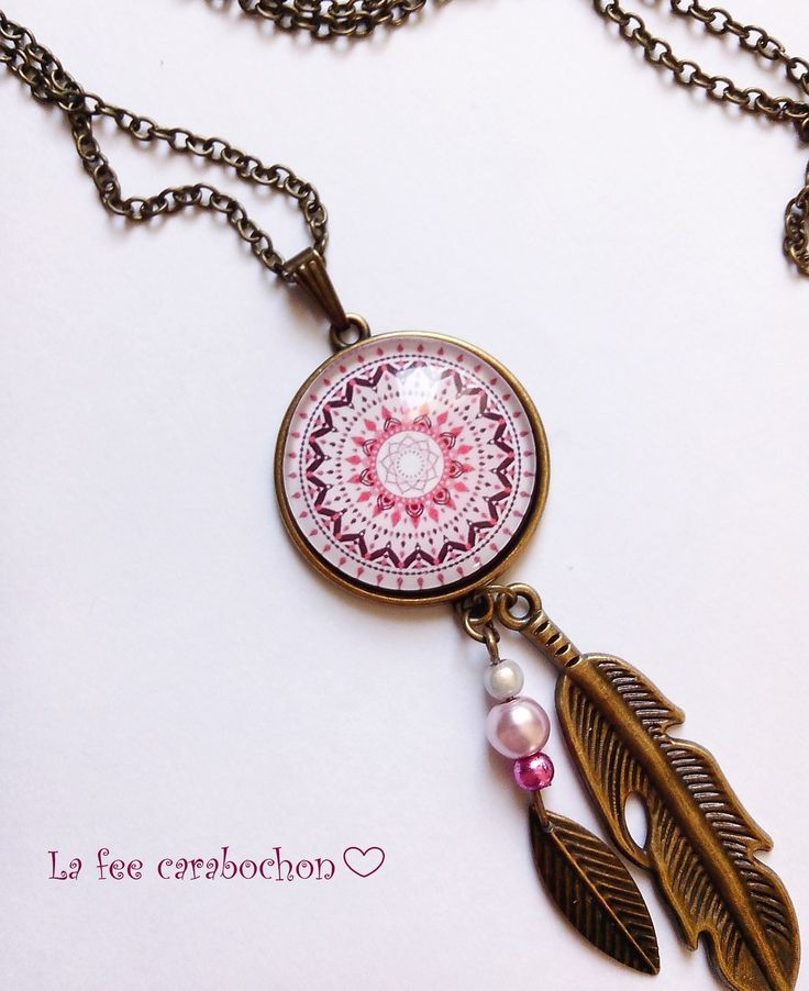 collier sautoir * mon attrape rêve * mandala ethnique rose bordeaux blanc, cabochon verre