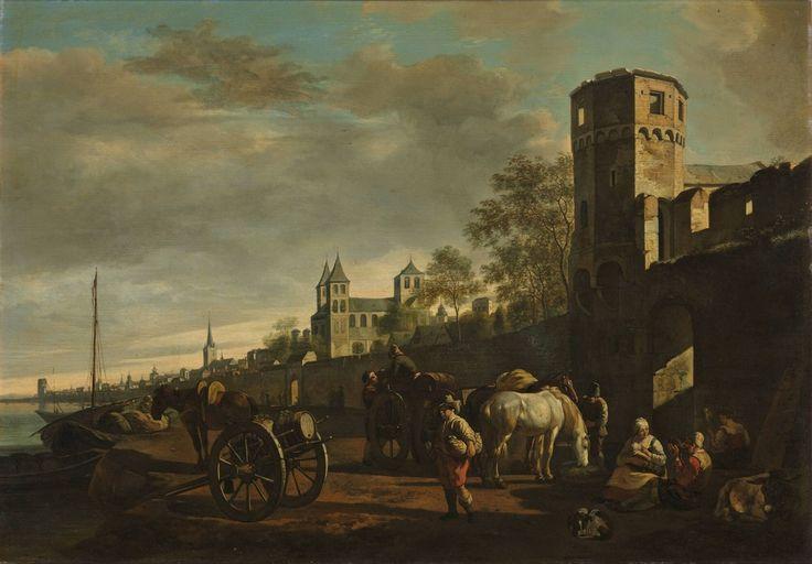 Gezicht langs de Rijnoever bij Keulen, Gerrit Adriaensz. Berckheyde, 1638 - 1698 | Museum Boijmans Van Beuningen