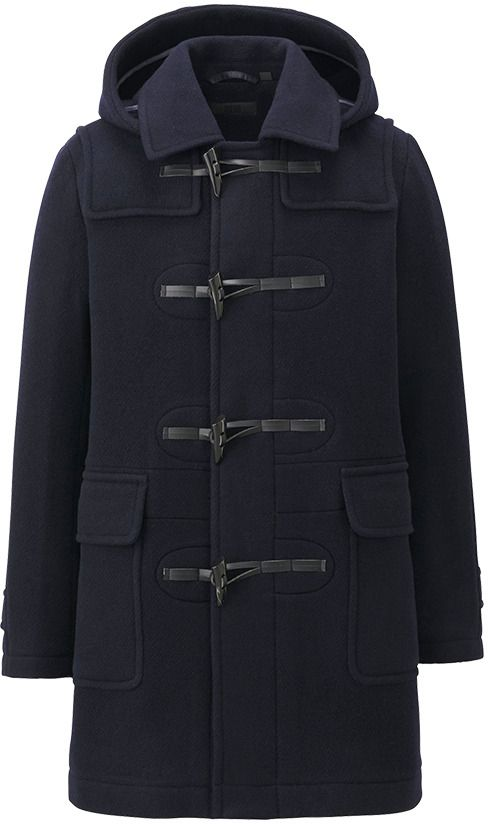 $99, Navy Duffle Coat: Uniqlo Wool Blended Duffle Coat. Sold by Uniqlo. Click for more info: http://lookastic.com/men/shop_items/595/redirect