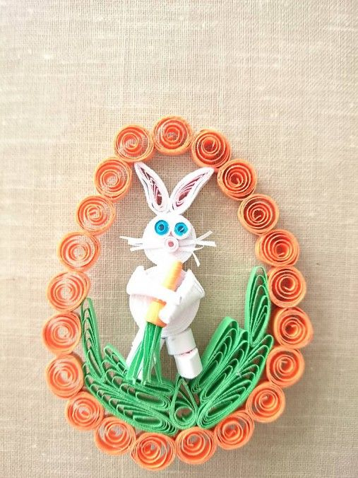 Veľkonočnú dekoráciu som vyrobila z papiera technikou quilling, ktrorá spríjemní sviatočné dni. Obvod vajíčka môžem urobiť v rôznych farebných variáciách....