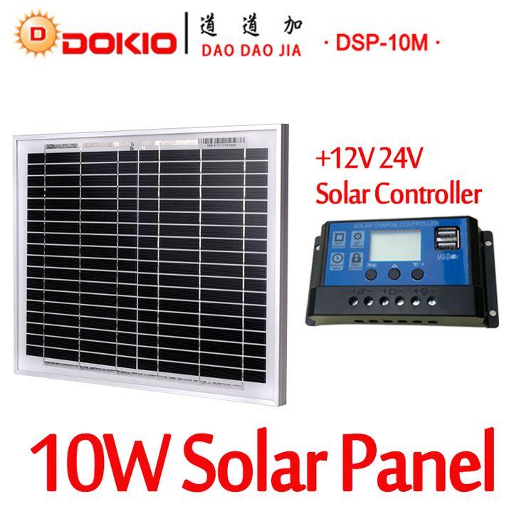 Marca 10 W Negro <font><b>Panel</b></font> <font><b>Solar</b></font> Dokio China   10A 12 V 24 V Regulador <font><b>Solar</b></font> 18 V Batería <font><b>Solar</b></font> Regulador Del Cargador Del <font><b>Panel</b></font> <font><b>Solar</b></font> de 10 Vatios