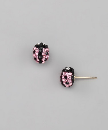 Take A Look At This Pink 10k Gold Crystal Ladybug Stud Earrings By Out On Zulily Today My Bug Pinterest Cute And Kids