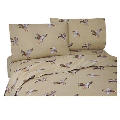 Duck Approach QUEEN Size Sheet Set (Flat, Fitted & Pillowcases) Mallards Lake #CabinLodge