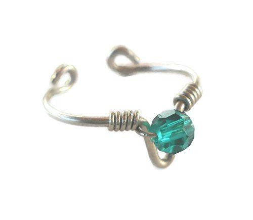Toe-Midi-Knuckle Ring Adjustable size Swarovski Emerald Crystal Wrapped 925 Sterling Silver Wire Arrow null http://www.amazon.com/dp/B01897I7JQ/ref=cm_sw_r_pi_dp_2VYtwb0CS1AP9