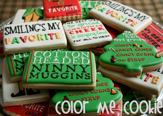 If You LOVE The Movie ELF, You Will LOVE These Cookies! This Listing Is For  One Dozen Elf Themed Sugar Cookies. Baked In My Licensed Kitchen,