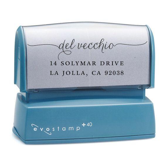 Got it- LOVE it!!Cursive Script Return Address Stamp  Custom Self by MJsArtStamps, $27.95