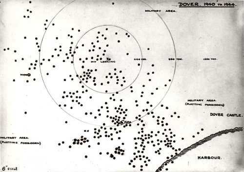 Map of Dover 1940-44, showing bombed spots. #WW2