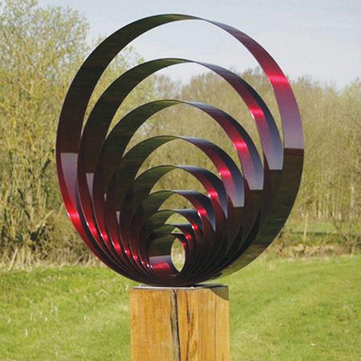 Large Modern Garden Sculptures: Large Pulse Metal Garden Sculpture