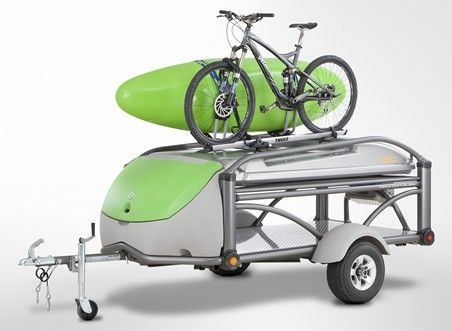 GO Mobile Adventure Gear Camper is a 3 in 1 towable vehicle that morphs from a compact, traveling profile to a rugged 'toy-hauler' mode to a spacious and comfortable camping configuration in one integrated, lightweight unit which can be pulled by almost any vehicle. GO can handle 800 lbs. of gear and accommodate top-mount racking systems for bicycles, kayaks and more.