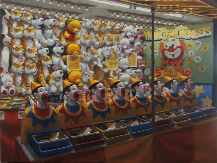 Mark Ogge's dreamlike paintings evoke childhood memories both dark and magical. Ogge, who has also painted the façade for the Melbourne Festival's famous Spiegeltent, has long been fascinated with the iconography and imagery of the circus and fairground.