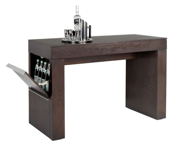 Bonus Option 2 - BRADLEY COUNTER TABLE: Functionality is at its finest with this counter table. Designed with a front drawer and two integrated storage compartments on each side to hold 24 bottles. Finished in an espresso wood veneer with brushed steel handles.