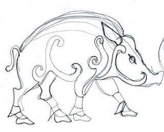 "Celtic boar. The Crowley crest features a boar, which stands for hardiness. (Crowley = ""hard hero"" or ""hardy warrior."")"