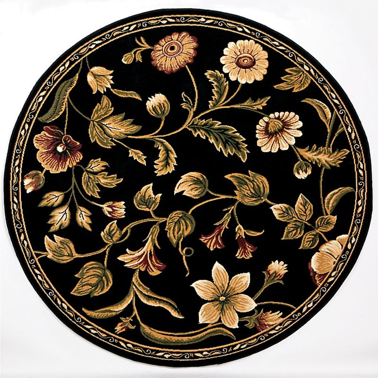 Black Floral 8 Ft Round Rug For The Home Pinterest