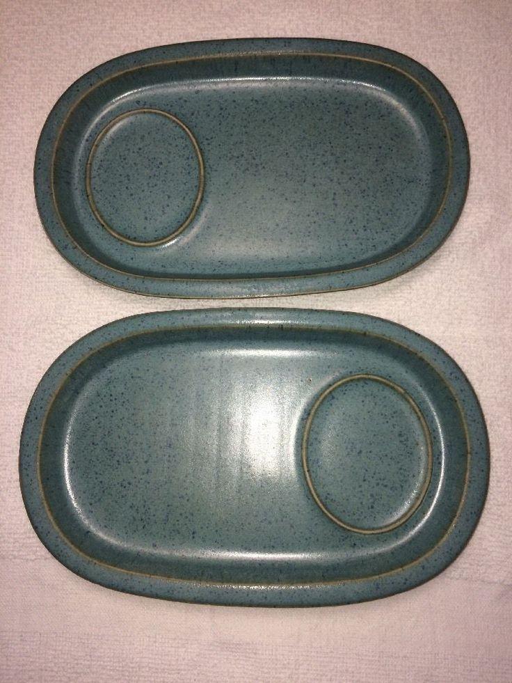 Bennington Pottery VT 1539 Lot Of 2 Snack Plate Speckled Blue Teal MCM Pottery | eBay