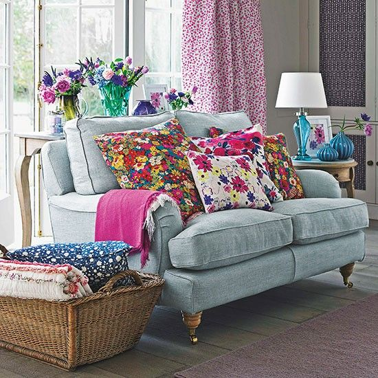 Living room with floral cushion display | Small living room design ideas | Decorating | housetohome.co.uk