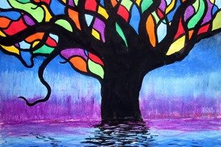 inspirational art - blending, drawing, resist...may use as a stained glass lesson too