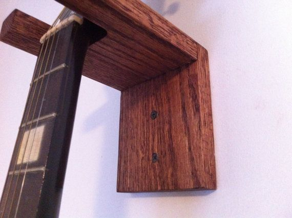 Guitar Hanger Wall Mount Solid Oak by JDrewCarpentry